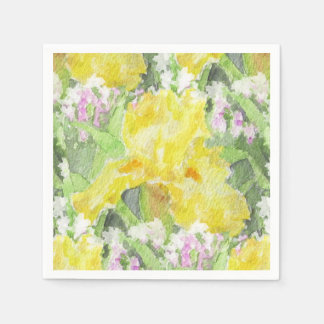 Yellow Tall Bearded Iris Watercolor Paper Napkin