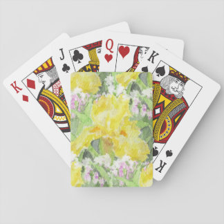 Yellow Tall Bearded Iris Watercolor Playing Cards