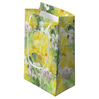 Yellow Tall Bearded Iris Watercolor Small Gift Bag