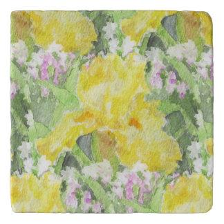 Yellow Tall Bearded Iris Watercolor Trivet