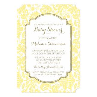 Yellow Tan Damask Custom Baby Shower Invitations