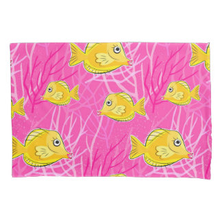 Yellow Tang in a Pink Coral Sea Pillowcase