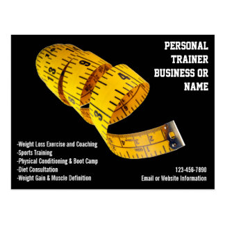 Yellow Tape Measure Personal Trainer Weight Loss Postcards