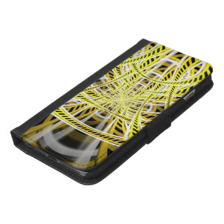 Yellow Tape Roller Coaster Ride on Fractal Rails iPhone 6/6s Plus Wallet Case