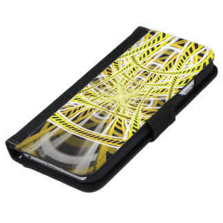 Yellow Tape Roller Coaster Ride on Fractal Rails iPhone 6 Wallet Case