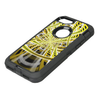 Yellow Tape Roller Coaster Ride on Fractal Rails OtterBox Defender iPhone 8/7 Case