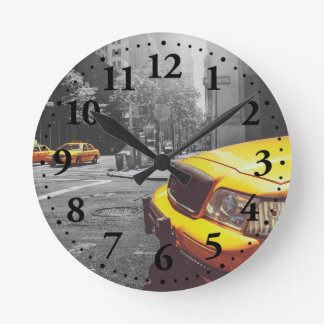 Yellow taxi 01 round clock