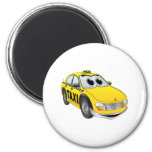 Yellow Taxi Cab Cartoon 2 Inch Round Magnet