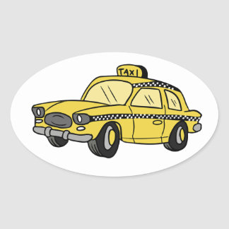 Yellow Taxi Cab Oval Sticker
