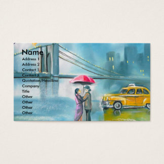 Yellow taxi couple rainy day romantic couple business card