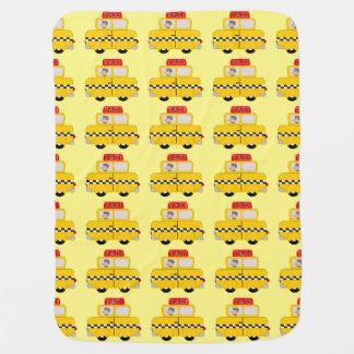 Yellow Taxi Design Baby Blanket