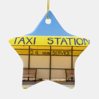 Yellow taxi station at coast in Greece Ceramic Star Ornament