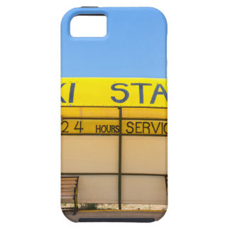 Yellow taxi station at coast in Greece iPhone 5 Case