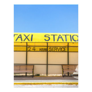 Yellow taxi station at coast in Greece Letterhead