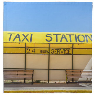 Yellow taxi station at coast in Greece Napkin