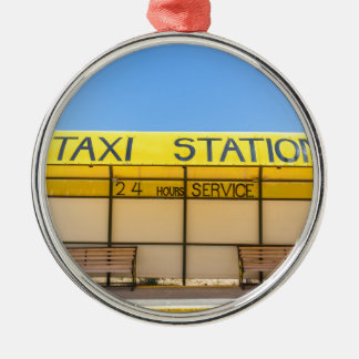 Yellow taxi station at coast in Greece Silver-Colored Round Ornament