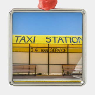 Yellow taxi station at coast in Greece Silver-Colored Square Ornament