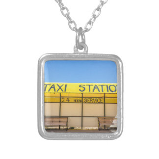 Yellow taxi station at coast in Greece Silver Plated Necklace