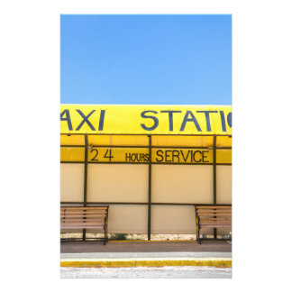 Yellow taxi station at coast in Greece Stationery Design