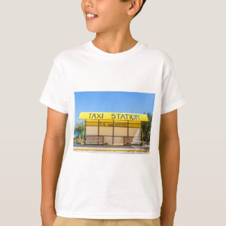 Yellow taxi station at coast in Greece T-Shirt