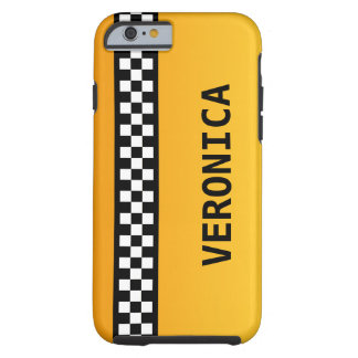 "Yellow Taxi Stripe ""Add Your Name"" Tough iPhone 6 Case"