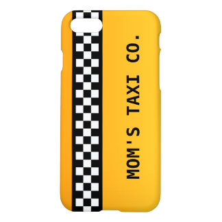 "Yellow Taxi Stripe ""Mom's Taxi Co."" iPhone 8/7 Case"