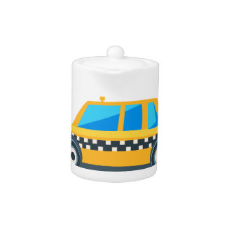 Yellow Taxi Toy Cute Car Icon. Flat Vector