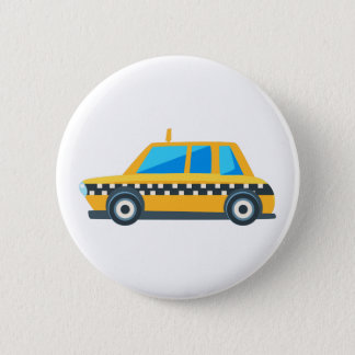 Yellow Taxi Toy Cute Car Icon. Flat Vector 2 Inch Round Button