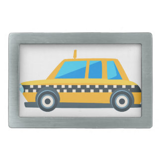 Yellow Taxi Toy Cute Car Icon. Flat Vector Belt Buckle