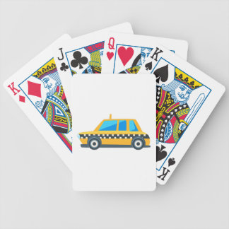 Yellow Taxi Toy Cute Car Icon. Flat Vector Bicycle Playing Cards