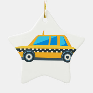 Yellow Taxi Toy Cute Car Icon. Flat Vector Ceramic Ornament