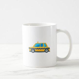Yellow Taxi Toy Cute Car Icon. Flat Vector Coffee Mug