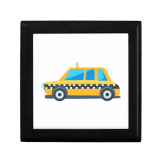 Yellow Taxi Toy Cute Car Icon. Flat Vector Gift Box
