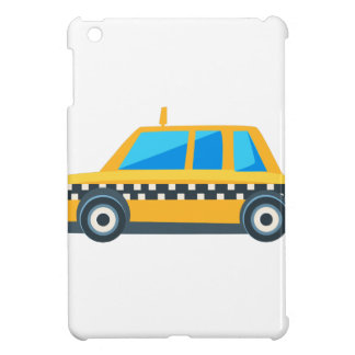 Yellow Taxi Toy Cute Car Icon. Flat Vector iPad Mini Cover