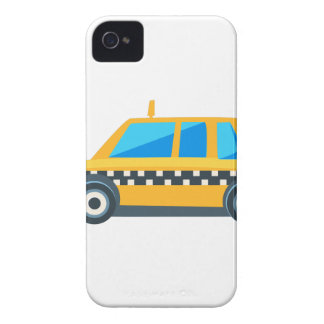 Yellow Taxi Toy Cute Car Icon. Flat Vector iPhone 4 Cases