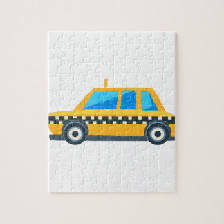 Yellow Taxi Toy Cute Car Icon. Flat Vector Jigsaw Puzzle
