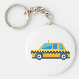 Yellow Taxi Toy Cute Car Icon. Flat Vector Keychain