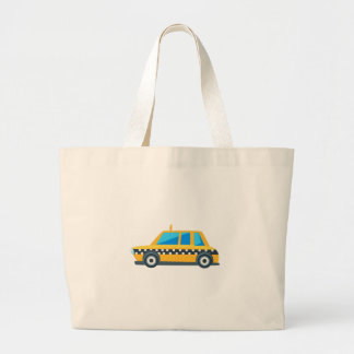 Yellow Taxi Toy Cute Car Icon. Flat Vector Large Tote Bag