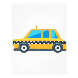 Yellow Taxi Toy Cute Car Icon. Flat Vector Letterhead