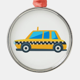 Yellow Taxi Toy Cute Car Icon. Flat Vector Metal Ornament