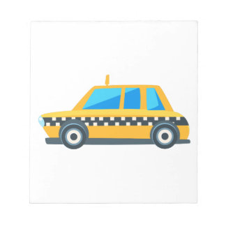 Yellow Taxi Toy Cute Car Icon. Flat Vector Notepad