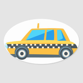 Yellow Taxi Toy Cute Car Icon. Flat Vector Oval Sticker