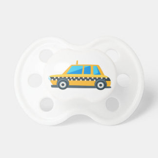 Yellow Taxi Toy Cute Car Icon. Flat Vector Pacifier