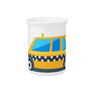 Yellow Taxi Toy Cute Car Icon. Flat Vector Pitcher