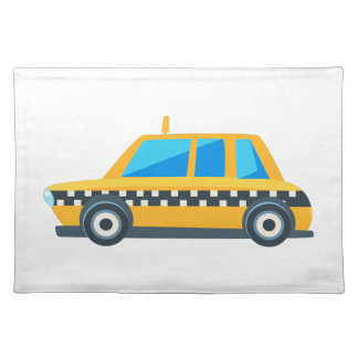 Yellow Taxi Toy Cute Car Icon. Flat Vector Placemat