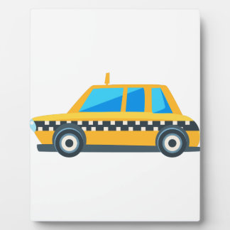 Yellow Taxi Toy Cute Car Icon. Flat Vector Plaque