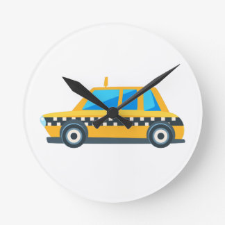 Yellow Taxi Toy Cute Car Icon. Flat Vector Round Clock