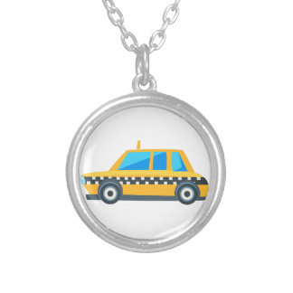 Yellow Taxi Toy Cute Car Icon. Flat Vector Silver Plated Necklace