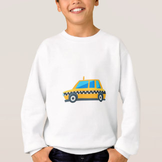 Yellow Taxi Toy Cute Car Icon. Flat Vector Sweatshirt