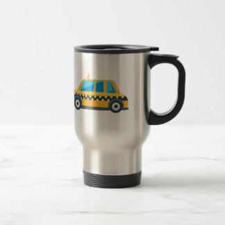 Yellow Taxi Toy Cute Car Icon. Flat Vector Travel Mug